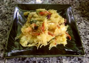 A picture of our low carb spaghetti squash salad.