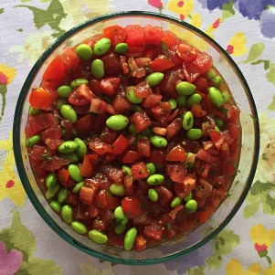 A picture of our yummy Watermelon Edamame Salad