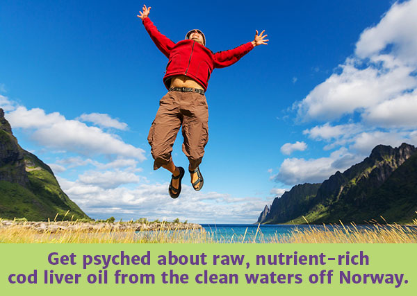 Get psyched about raw, nutrient-rich cod liver oil from the clean waters off Norway.