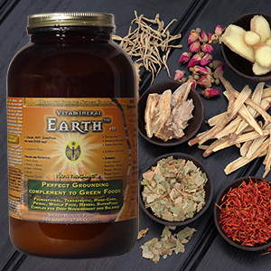 Picture of HealthForce Vitamineral Earth on a background of roots and herbs.