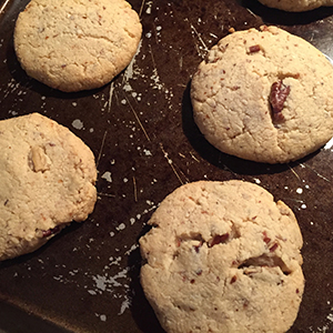 Picture of Keto Pecan Sandies golden brown just out of the oven.