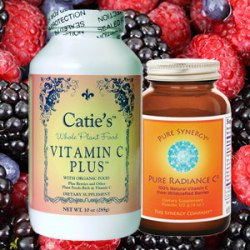 Picture of Catie's Vitamin C Plus and Pure Radiance C supplements on a background of fresh berries.