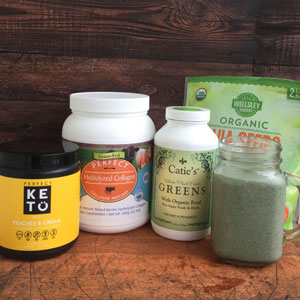 Healthy ingredients in the Peaches & Greens Smoothie include Perfect Keto Peaches and Cream Ketone Base, Perfect Hydrolyzed Collagen, Catie's Greens and organic chia seeds.