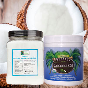 Picture of Green Pasture Blue Breeze coconut Oil and Perfect Coconut Oil on a background of coconuts.