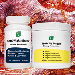 Picture of Wake Up Maggie and Good Night Maggie magnesium supplements on a background picture of beautiful red stone.