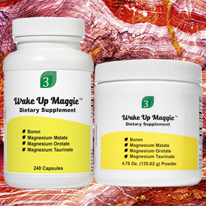 picture of Wake Up Maggie capsules and powder.