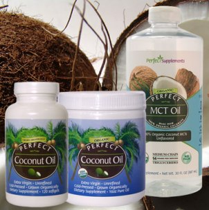 Picture of Perfect Coconut Oil and Perfect MCT oil on a background of a coconut.